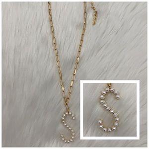 4/$20 BaubleBar Gold & Pearl Letter S Necklace